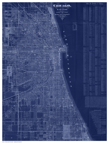 Antique Map of Chicago (blue)
