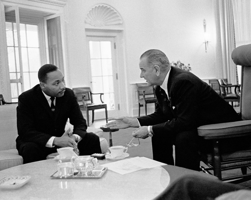 Martin Luther King Jr. and President Lyndon Johnson, Oval Office, 1963