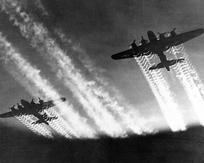B-17 Flying Fortress Bombers with Contrails, c. 1943-5
