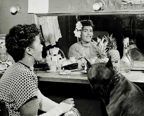 "Billie Holiday in Dressing Room with Her Dog ""Mister"" NYC, 1946"
